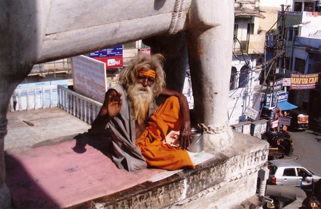 Receiving a blessing from an elder in Delhi