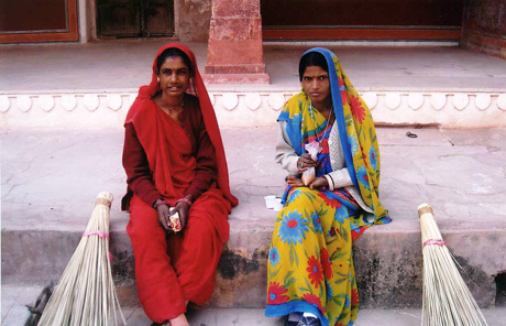 Sweepers in colourful saris in Pune