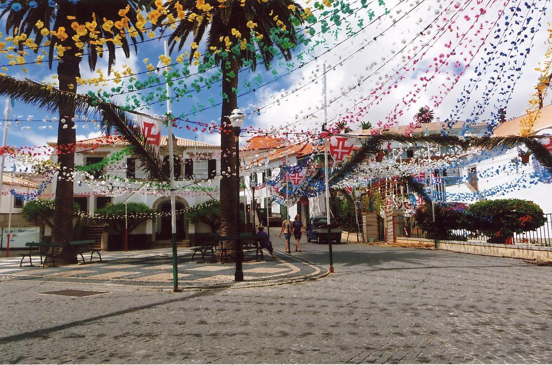 Town square of Vila Baleira on Porto Santo, decorated for a festival