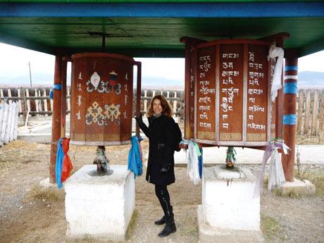 Spinning the prayer wheels at a Buryat Tibetan monastery near Ulan Ude, Siberia