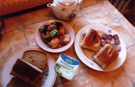 Typical breakfast throughout Siberia