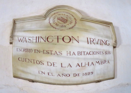 "Translation: ""Washington Irving wrote his Tales of Alhambra in these rooms in 1829."""